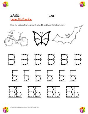 Preview image for worksheet with title Letter Bb Practice