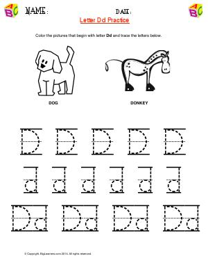 Preview image for worksheet with title Letter Dd Practice