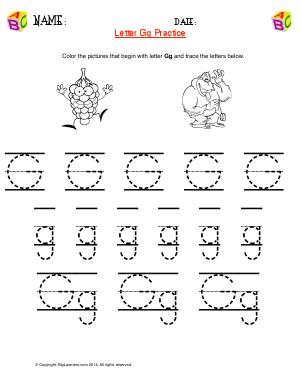 Preview image for worksheet with title Letter Gg Practice