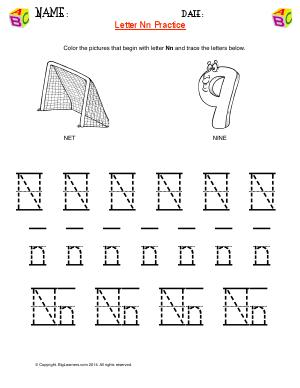 Preview image for worksheet with title Letter Nn Practice