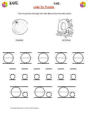 Preview image for worksheet with title Letter Oo Practice
