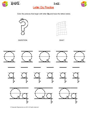 Preview image for worksheet with title Letter Qq Practice