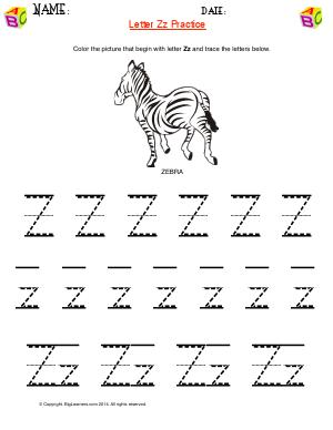 Preview image for worksheet with title Letter Zz Practice