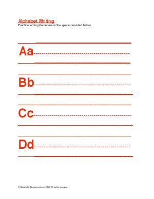Preview image for worksheet with title Alphabet Writing ( Aa - Dd )