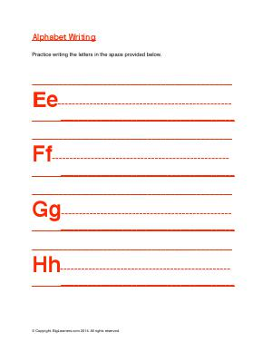 Preview image for worksheet with title Alphabet Writing ( Ee - Hh )