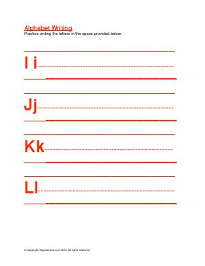 Preview image for worksheet with title Alphabet Writing ( Ii - Ll )