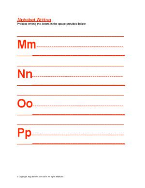 Preview image for worksheet with title Alphabet Writing ( Mm -  Pp )