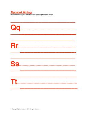Preview image for worksheet with title Alphabet Writing ( Qq - Tt )