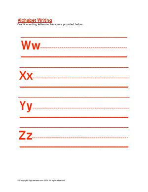 Preview image for worksheet with title Alphabet Writing ( Ww - Zz )