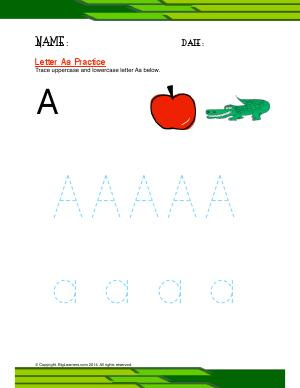 Preview image for worksheet with title Letter Aa Practice