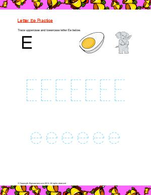 Preview image for worksheet with title Letter Ee Practice