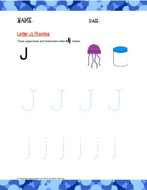 Preview image for worksheet with title Letter Jj Practice