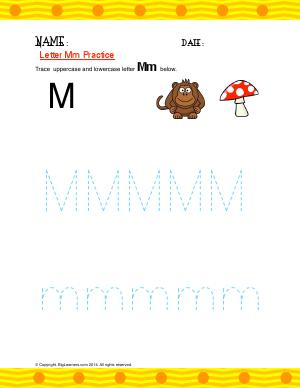 Preview image for worksheet with title Letter Mm Practice