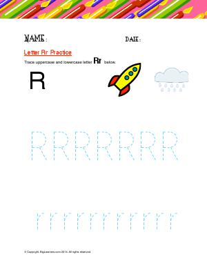 Preview image for worksheet with title Letter Rr Practice