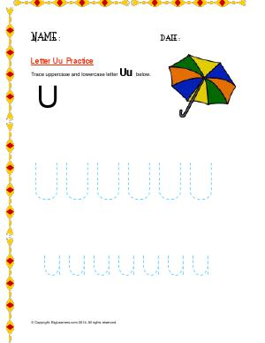 Preview image for worksheet with title Letter Uu Practice