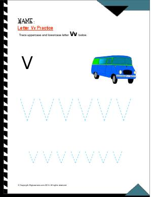 Preview image for worksheet with title Letter Vv Practice