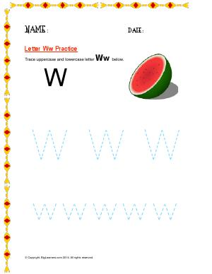 Preview image for worksheet with title Letter Ww Practice