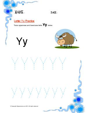 Preview image for worksheet with title Letter Yy Practice