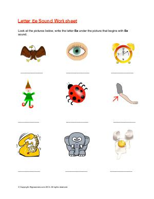 Preview image for worksheet with title Letter Ee Sound Worksheet