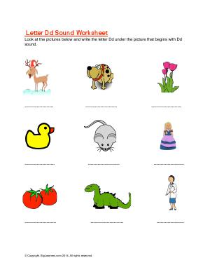 Preview image for worksheet with title Letter Dd Sound Worksheet