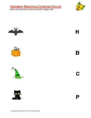 Preview image for worksheet with title Halloween Beginning Consonant Sound