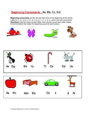 Preview image for worksheet with title Beginning Consonants : Aa, Bb, Cc, Dd