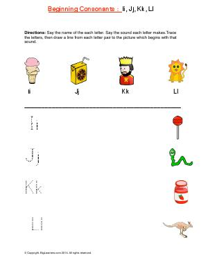 Preview image for worksheet with title Beginning Consonants: Ii, Jj, Kk, Ll