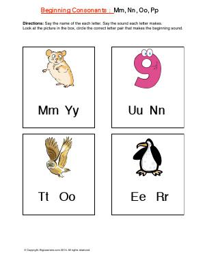 Preview image for worksheet with title Beginning consonant:s: Mm, Nn, Oo, Pp