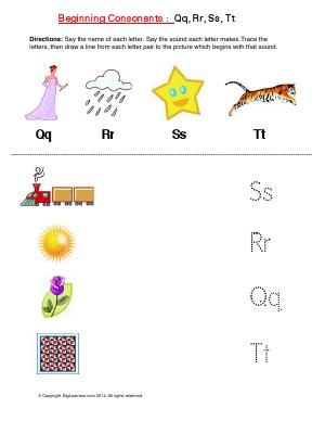 Preview image for worksheet with title Beginning Consonants: Qq, Rr, Ss, Tt