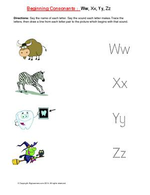 Preview image for worksheet with title Beginning Consonants: Ww, Xx, Yy, Zz