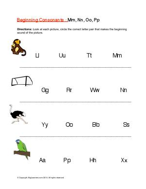 Preview image for worksheet with title Beginning Consonants: Mm, Nn, Oo, Pp