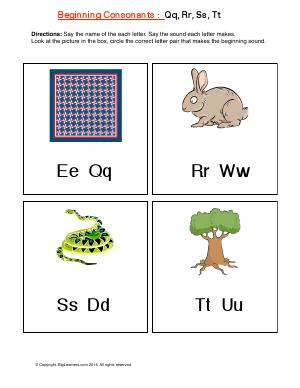 Preview image for worksheet with title Beginning Consonants: Qq,Rr, Ss, Tt