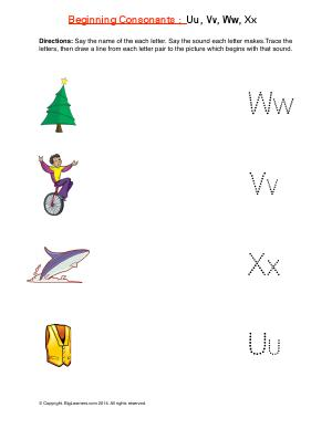 Preview image for worksheet with title Beginning Consonants: Uu, Vv, Ww, Xx