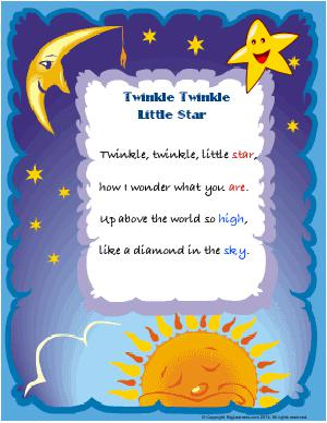 Preview image for worksheet with title Twinkle Twinkle Little Stars ( Nursery Rhyme ) Poster