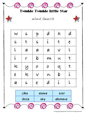 Preview image for worksheet with title Twinkle Twinkle Little Stars ( Worksheet # 3 )