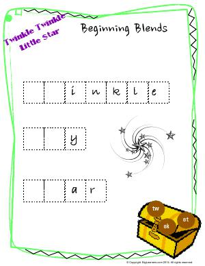 Preview image for worksheet with title Twinkle Twinkle Little Stars : Beginning Blends