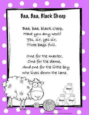 Preview image for worksheet with title Baa Baa Black Sheep