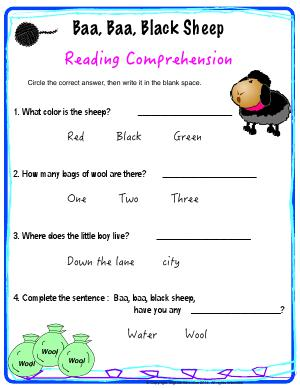 Preview image for worksheet with title Baa Baa Black Sheep - Reading Comprehension