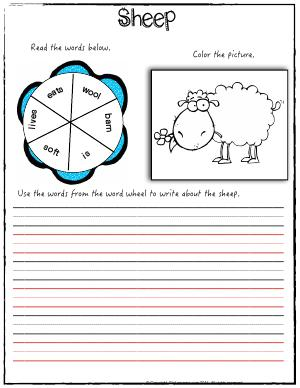 Preview image for worksheet with title Sheep ( Baa Baa Black Sheep )