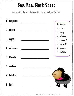 Preview image for worksheet with title Baa Baa Black Sheep - Unscramble the Words