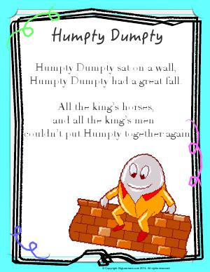 Preview image for worksheet with title Humpty Dumpty