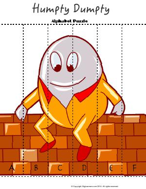 Preview image for worksheet with title Humpty Dumpty - Alphabet Puzzle