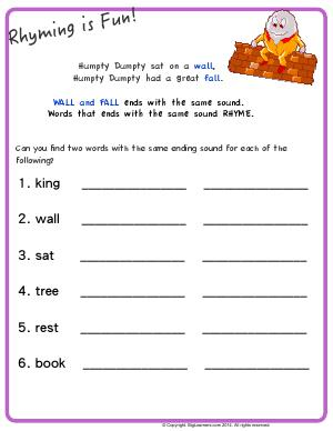 Preview image for worksheet with title Rhyming is Fun - Humpty Dumpty