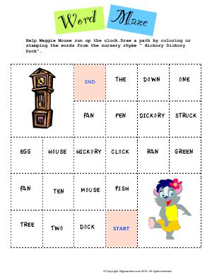 Preview image for worksheet with title Word Maze - Hickory Dickory Dock