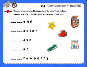 Preview image for worksheet with title St Consonant Blend - Hickory Dickory Dock