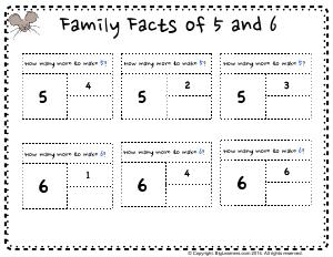 Preview image for worksheet with title Family Facts of 5 and 6