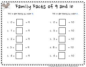 Preview image for worksheet with title Family Facts of 9 and 10