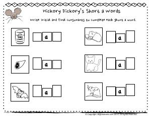Preview image for worksheet with title Hickory Dickory's Short a Words