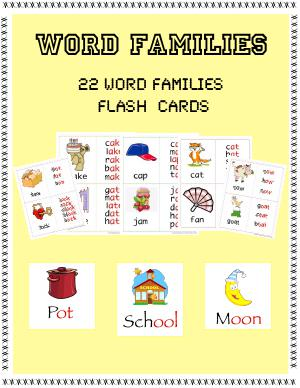 Preview image for worksheet with title Word Families Flashcards