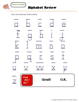 Preview image for worksheet with title Alphabet Review - Lowercase Letters